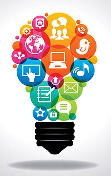 lightbulb shaped image with icons inside