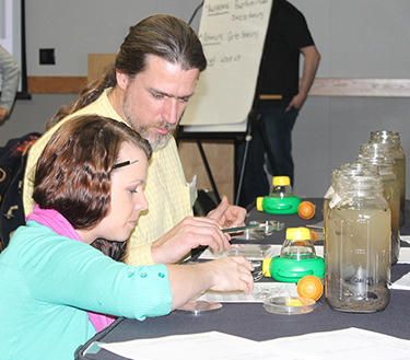 teachers at traning learning about pond ecosystems